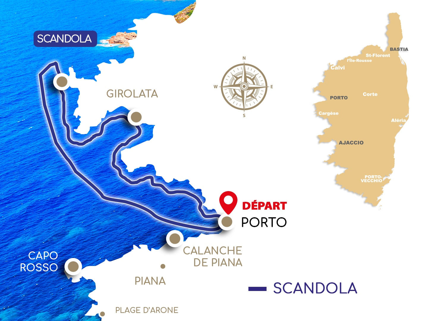 Promenades en mer Scandola  (3H00) : Scandola – Girolata